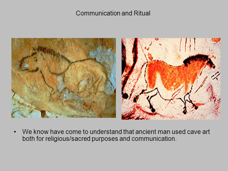 Communication and Ritual We know have come to understand that ancient man used cave art both for religious/sacred purposes and communication.