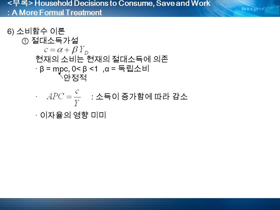 Household Decisions to Consume, Save and Work : A More Formal Treatment 6) 소비함수 이론 ① 절대소득가설 현재의 소비는 현재의 절대소득에 의존 · β = mpc, 0< β <1,α = 독립소비 안정적 · : 소득이 증가함에 따라 감소 · 이자율의 영향 미미