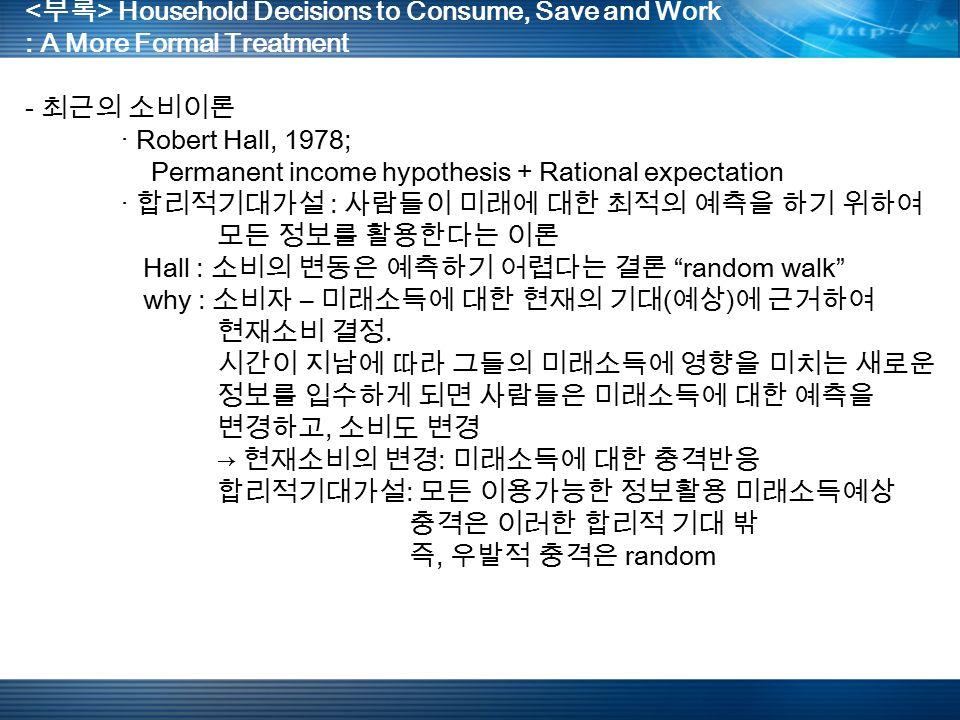 Household Decisions to Consume, Save and Work : A More Formal Treatment - 최근의 소비이론 · Robert Hall, 1978; Permanent income hypothesis + Rational expectation · 합리적기대가설 : 사람들이 미래에 대한 최적의 예측을 하기 위하여 모든 정보를 활용한다는 이론 Hall : 소비의 변동은 예측하기 어렵다는 결론 random walk why : 소비자 – 미래소득에 대한 현재의 기대 ( 예상 ) 에 근거하여 현재소비 결정.