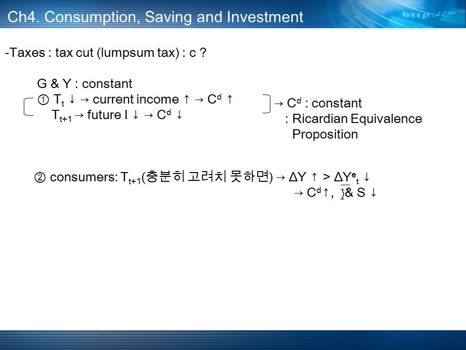 Ch4. Consumption, Saving and Investment -Taxes : tax cut (lumpsum tax) : c .