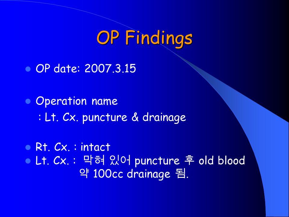 OP Findings OP date: 2007.3.15 Operation name : Lt.