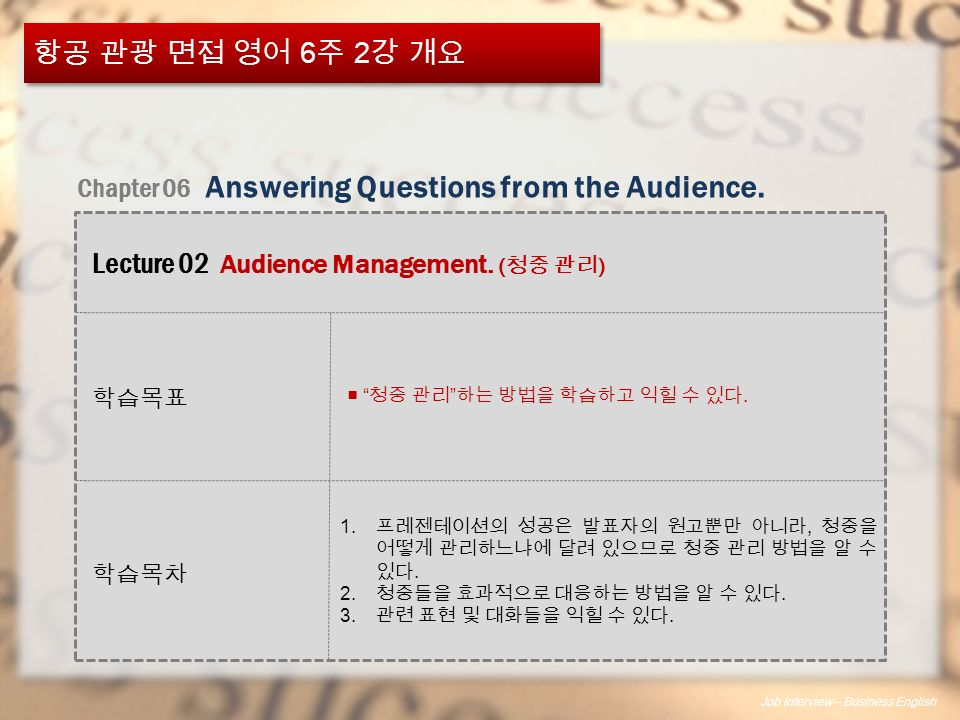 Job Interview – Business English 항공 관광 면접 영어 6 주 2 강 개요 학습목차 Chapter 06 Answering Questions from the Audience.