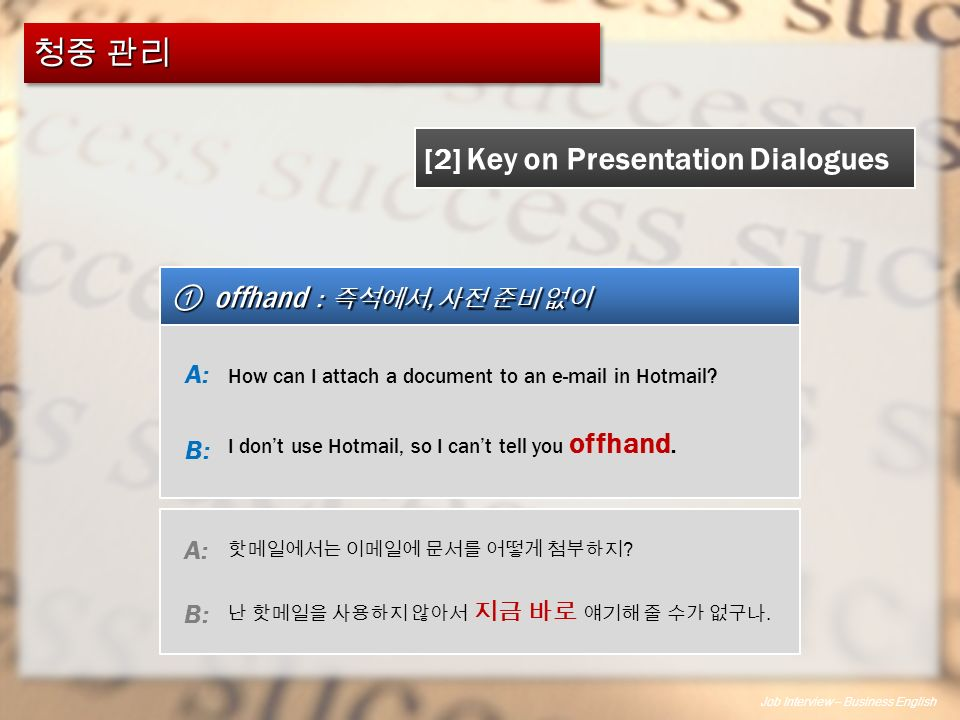 Job Interview – Business English ① offhand : 즉석에서, 사전 준비 없이 [2] Key on Presentation Dialogues How can I attach a document to an e-mail in Hotmail.