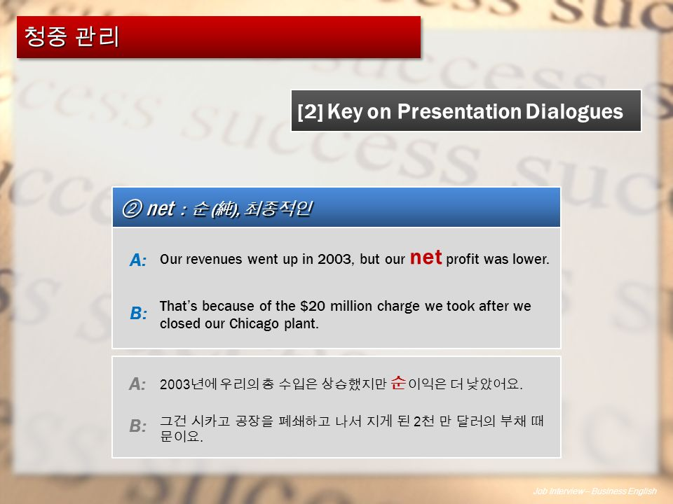 Job Interview – Business English ② net : 순 ( 純 ), 최종적인 [2] Key on Presentation Dialogues Our revenues went up in 2003, but our net profit was lower.