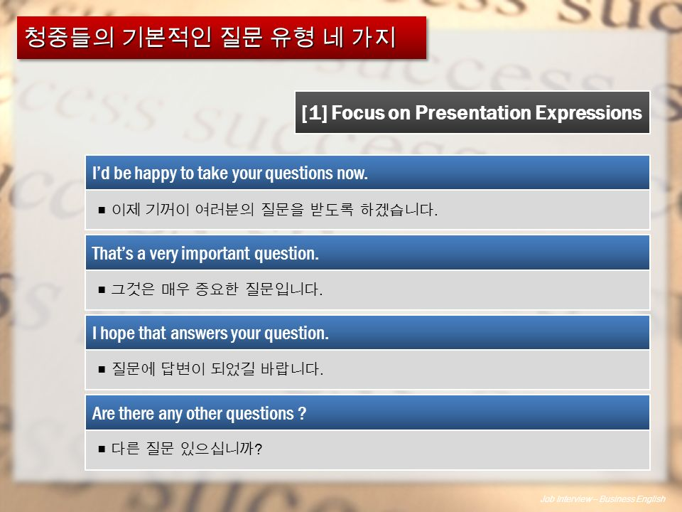 Job Interview – Business English [1] Focus on Presentation Expressions I'd be happy to take your questions now.
