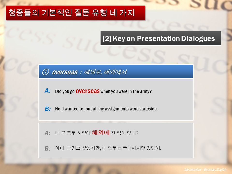 Job Interview – Business English ① overseas : 해외로, 해외에서 [2] Key on Presentation Dialogues Did you go overseas when you were in the army.