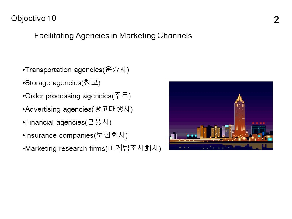 2 Facilitating Agencies in Marketing Channels Objective 10 Transportation agencies( 운송사 ) Storage agencies( 창고 ) Order processing agencies( 주문 ) Advertising agencies( 광고대행사 ) Financial agencies( 금융사 ) Insurance companies( 보험회사 ) Marketing research firms( 마케팅조사회사 )