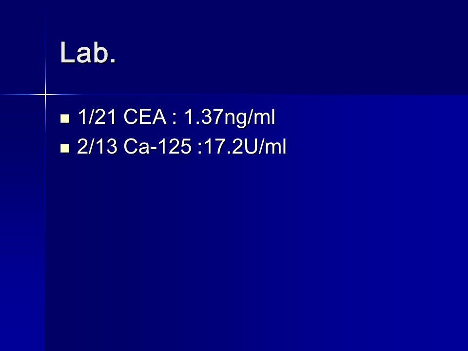 Lab. 1/21 CEA : 1.37ng/ml 1/21 CEA : 1.37ng/ml 2/13 Ca-125 :17.2U/ml 2/13 Ca-125 :17.2U/ml