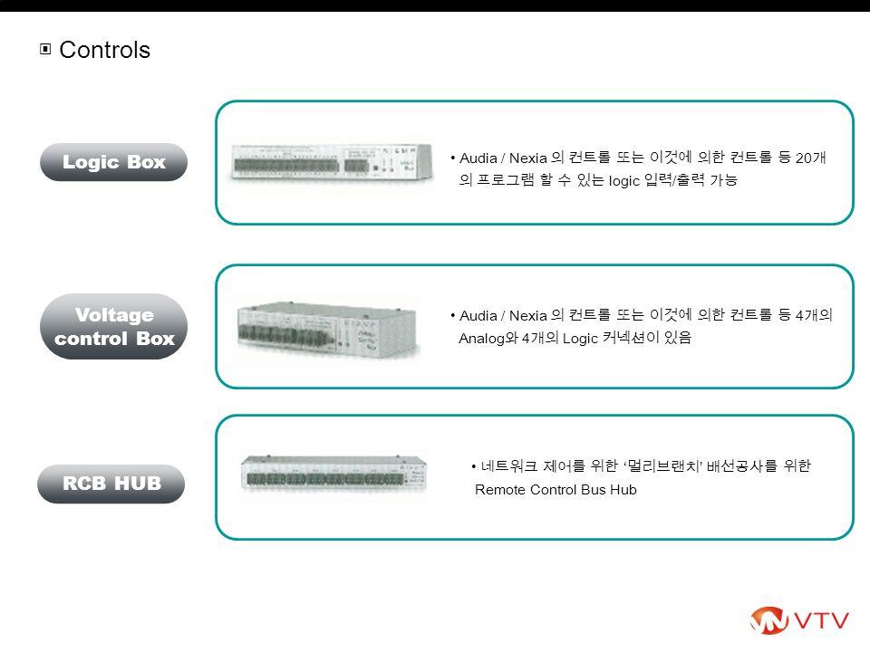 Audia / Nexia 의 컨트롤 또는 이것에 의한 컨트롤 등 4 개의 Analog 와 4 개의 Logic 커넥션이 있음 Audia / Nexia 의 컨트롤 또는 이것에 의한 컨트롤 등 20 개 의 프로그램 할 수 있는 logic 입력 / 출력 가능 Logic Box Voltage control Box ▣ Controls 네트워크 제어를 위한 ' 멀리브랜치 ' 배선공사를 위한 Remote Control Bus Hub RCB HUB