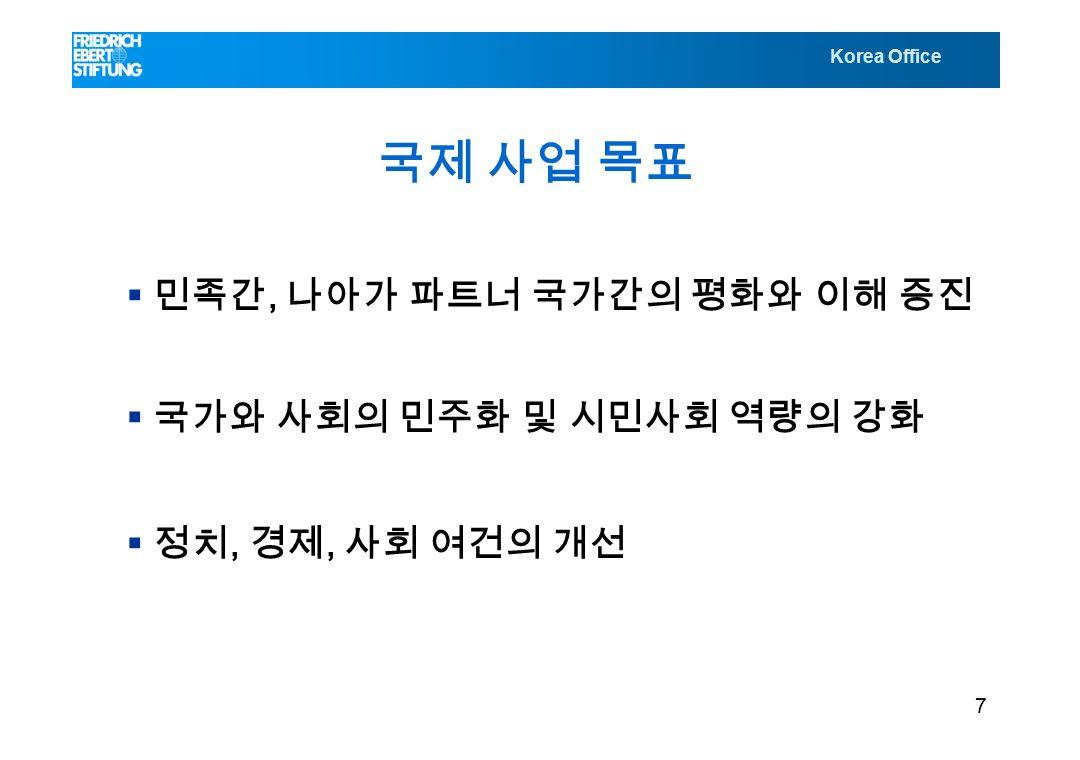 Korea Office 국제 사업 목표  민족간, 나아가 파트너 국가간의 평화와 이해 증진  국가와 사회의 민주화 및 시민사회 역량의 강화  정치, 경제, 사회 여건의 개선 7