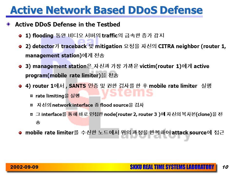 2002-09-0910 Active Network Based DDoS Defense Active DDoS Defense in the Testbed 1) flooding 동안 비디오 서버의 traffic 의 급속한 증가 감지 2) detector 가 traceback 및 mitigation 요청을 자신의 CITRA neighbor (router 1, management station) 에게 전송 3) management station 은 자신과 가장 가까운 victim(router 1) 에게 active program(mobile rate limiter) 을 전송 4) router 1 에서, SANTS 인증 및 권한 검사를 한 후 mobile rate limiter 실행 rate limiting 을 실행 자신의 network interface 중 flood source 을 검사 그 interface 를 통해 바로 인접한 node(router 2, router 3 ) 에 자신의 복사본 (clone) 을 전 송 mobile rate limiter 를 수신한 노드에서 위의 과정을 반복하여 attack source 에 접근