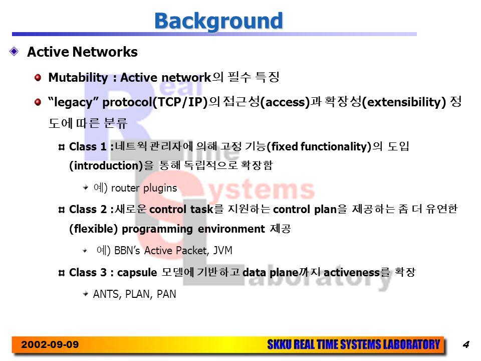 2002-09-094 Background Active Networks Mutability : Active network 의 필수 특징 legacy protocol(TCP/IP) 의 접근성 (access) 과 확장성 (extensibility) 정 도에 따른 분류 Class 1 : 네트웍 관리자에 의해 고정 기능 (fixed functionality) 의 도입 (introduction) 을 통해 독립적으로 확장함 예 ) router plugins Class 2 : 새로운 control task 를 지원하는 control plan 을 제공하는 좀 더 유연한 (flexible) programming environment 제공 예 ) BBN's Active Packet, JVM Class 3 : capsule 모델에 기반하고 data plane 까지 activeness 를 확장 ANTS, PLAN, PAN