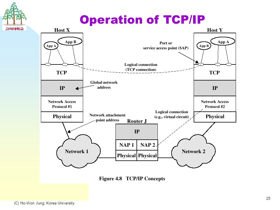 (C) Ho-Won Jung, Korea University 25 Operation of TCP/IP