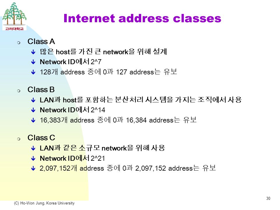 (C) Ho-Won Jung, Korea University 30 Internet address classes  Class A  많은 host 를 가진 큰 network 을 위해 설계  Network ID 에서 2^7  128 개 address 중에 0 과 127 address 는 유보  Class B  LAN 과 host 를 포함하는 분산처리 시스템을 가지는 조직에서 사용  Network ID 에서 2^14  16,383 개 address 중에 0 과 16,384 address 는 유보  Class C  LAN 과 같은 소규모 network 을 위해 사용  Network ID 에서 2^21  2,097,152 개 address 중에 0 과 2,097,152 address 는 유보