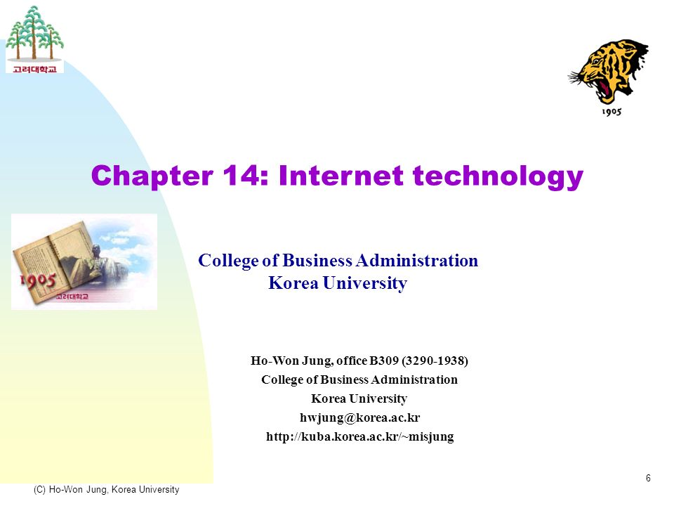 (C) Ho-Won Jung, Korea University 6 Chapter 14: Internet technology College of Business Administration Korea University Ho-Won Jung, office B309 (3290-1938) College of Business Administration Korea University hwjung@korea.ac.kr http://kuba.korea.ac.kr/~misjung