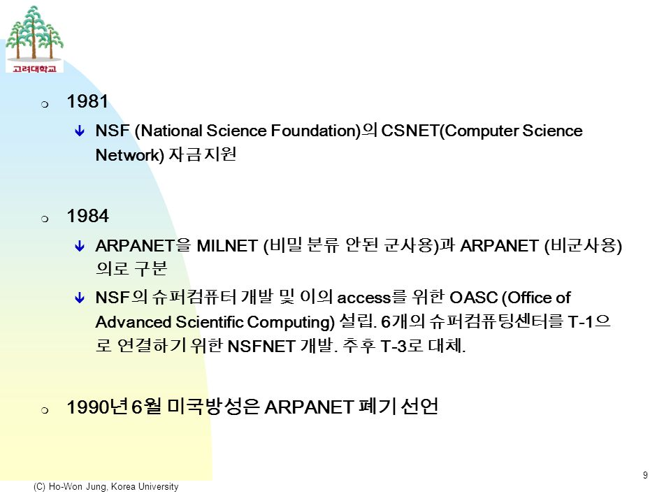 (C) Ho-Won Jung, Korea University 9  1981  NSF (National Science Foundation) 의 CSNET(Computer Science Network) 자금지원  1984  ARPANET 을 MILNET ( 비밀 분류 안된 군사용 ) 과 ARPANET ( 비군사용 ) 의로 구분  NSF 의 슈퍼컴퓨터 개발 및 이의 access 를 위한 OASC (Office of Advanced Scientific Computing) 설립.