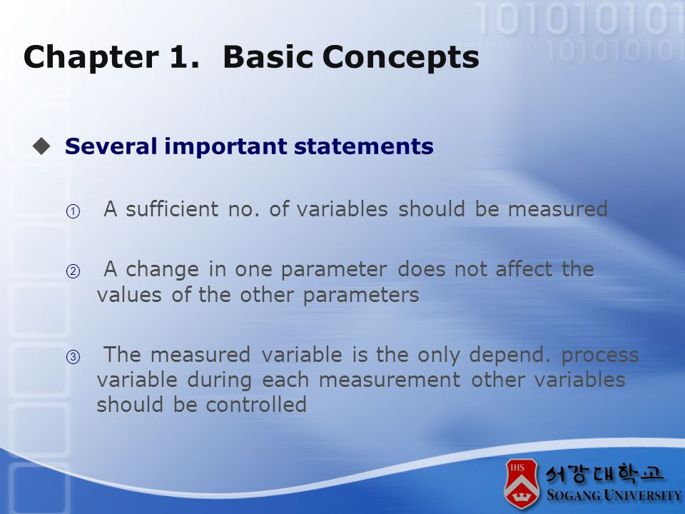 Chapter 1. Basic Concepts  Several important statements  A sufficient no.