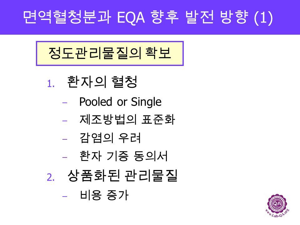 면역혈청분과 EQA 향후 발전 방향 (1) 1. 환자의 혈청 − Pooled or Single − 제조방법의 표준화 − 감염의 우려 − 환자 기증 동의서 2.