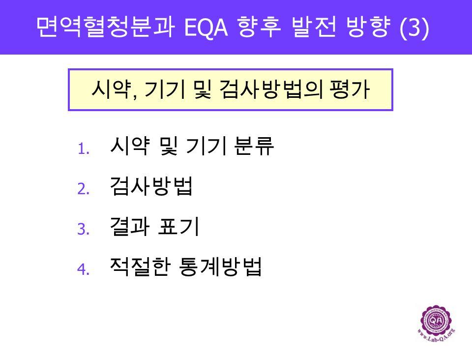 면역혈청분과 EQA 향후 발전 방향 (3) 1. 시약 및 기기 분류 2. 검사방법 3. 결과 표기 4. 적절한 통계방법 시약, 기기 및 검사방법의 평가