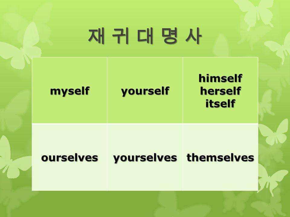 재 귀 대 명 사재 귀 대 명 사재 귀 대 명 사재 귀 대 명 사 myselfyourselfhimselfherselfitself ourselvesyourselvesthemselves