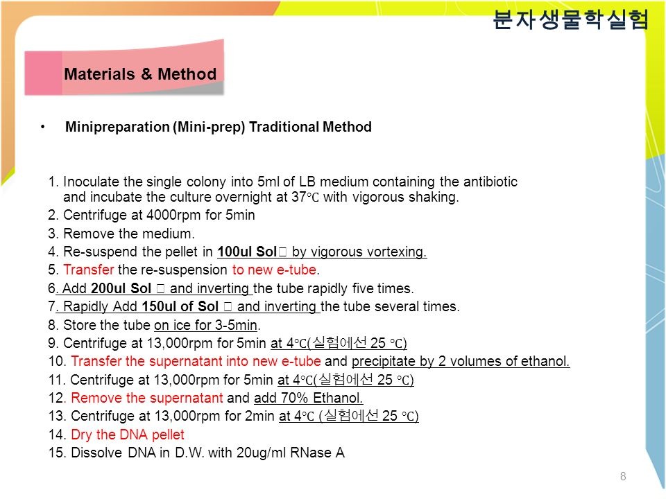 8 분자생물학실험 Materials & Method Minipreparation (Mini-prep) Traditional Method 1.