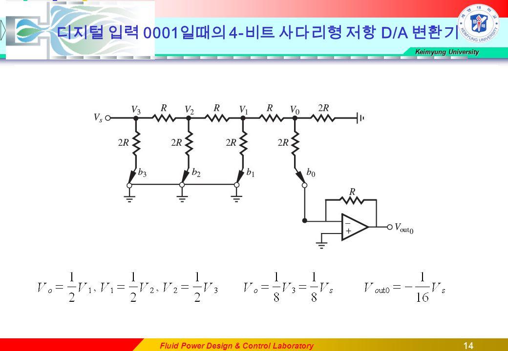 14 Keimyung University Fluid Power Design & Control Laboratory 디지털 입력 0001 일때의 4- 비트 사다리형 저항 D/A 변환기