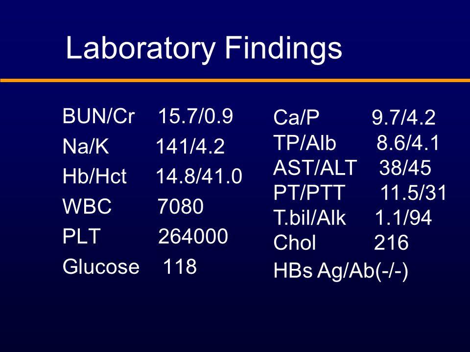 Laboratory Findings BUN/Cr 15.7/0.9 Na/K 141/4.2 Hb/Hct 14.8/41.0 WBC 7080 PLT 264000 Glucose 118 Ca/P 9.7/4.2 TP/Alb 8.6/4.1 AST/ALT 38/45 PT/PTT 11.5/31 T.bil/Alk 1.1/94 Chol 216 HBs Ag/Ab(-/-)