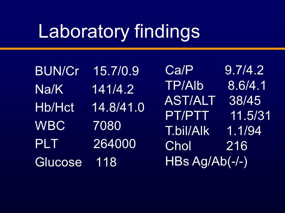 BUN/Cr 15.7/0.9 Na/K 141/4.2 Hb/Hct 14.8/41.0 WBC 7080 PLT 264000 Glucose 118 Laboratory findings Ca/P 9.7/4.2 TP/Alb 8.6/4.1 AST/ALT 38/45 PT/PTT 11.5/31 T.bil/Alk 1.1/94 Chol 216 HBs Ag/Ab(-/-)