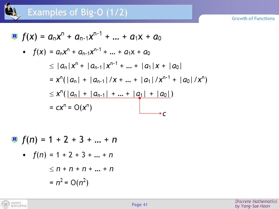 Discrete Mathematics by Yang-Sae Moon Page 40 Big-O Example, Graphically Note 30n+8 isn't less than n anywhere (n>0).