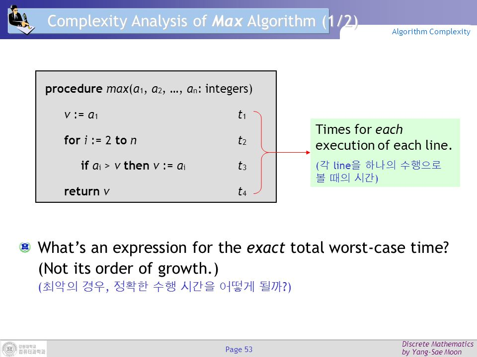 Discrete Mathematics by Yang-Sae Moon Page 52 Example: Max Algorithm Problem: Find the exact order of growth (  ) of the worst- case time complexity of the max algorithm.