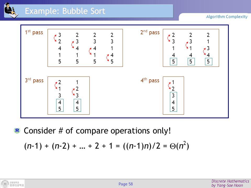 Discrete Mathematics by Yang-Sae Moon Page 57 Binary Search Analysis Suppose n=2 k.