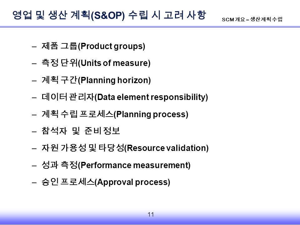 11 SCM 개요 – 생산계획 수립 – 제품 그룹 (Product groups) – 측정 단위 (Units of measure) – 계획 구간 (Planning horizon) – 데이터 관리자 (Data element responsibility) – 계획 수립 프로세스 (Planning process) – 참석자 및 준비 정보 – 자원 가용성 및 타당성 (Resource validation) – 성과 측정 (Performance measurement) – 승인 프로세스 (Approval process) 영업 및 생산 계획 (S&OP) 수립 시 고려 사항