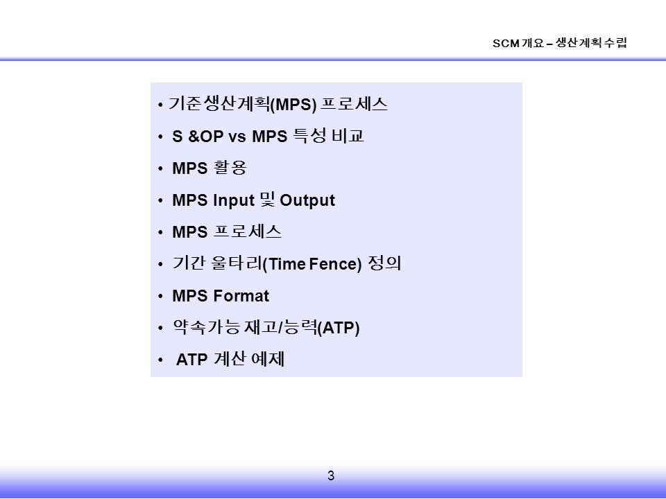 3 SCM 개요 – 생산계획 수립 기준생산계획 (MPS) 프로세스 S &OP vs MPS 특성 비교 MPS 활용 MPS Input 및 Output MPS 프로세스 기간 울타리 (Time Fence) 정의 MPS Format 약속가능 재고 / 능력 (ATP) ATP 계산 예제