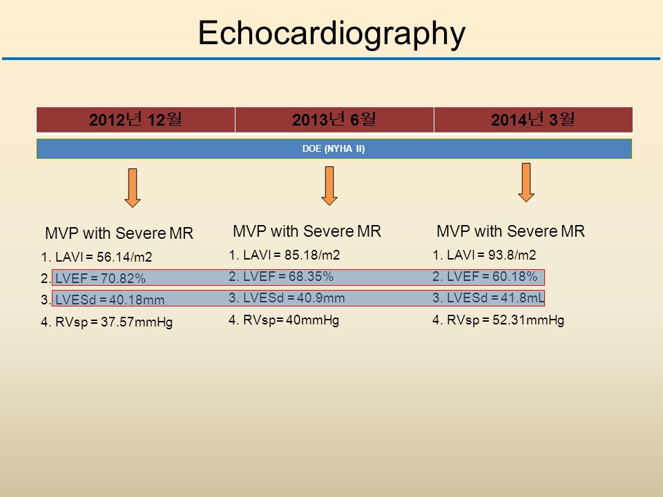 Echocardiography 년 12 월 2013 년 6 월 2014 년 3 월 MVP with Severe MR 1.