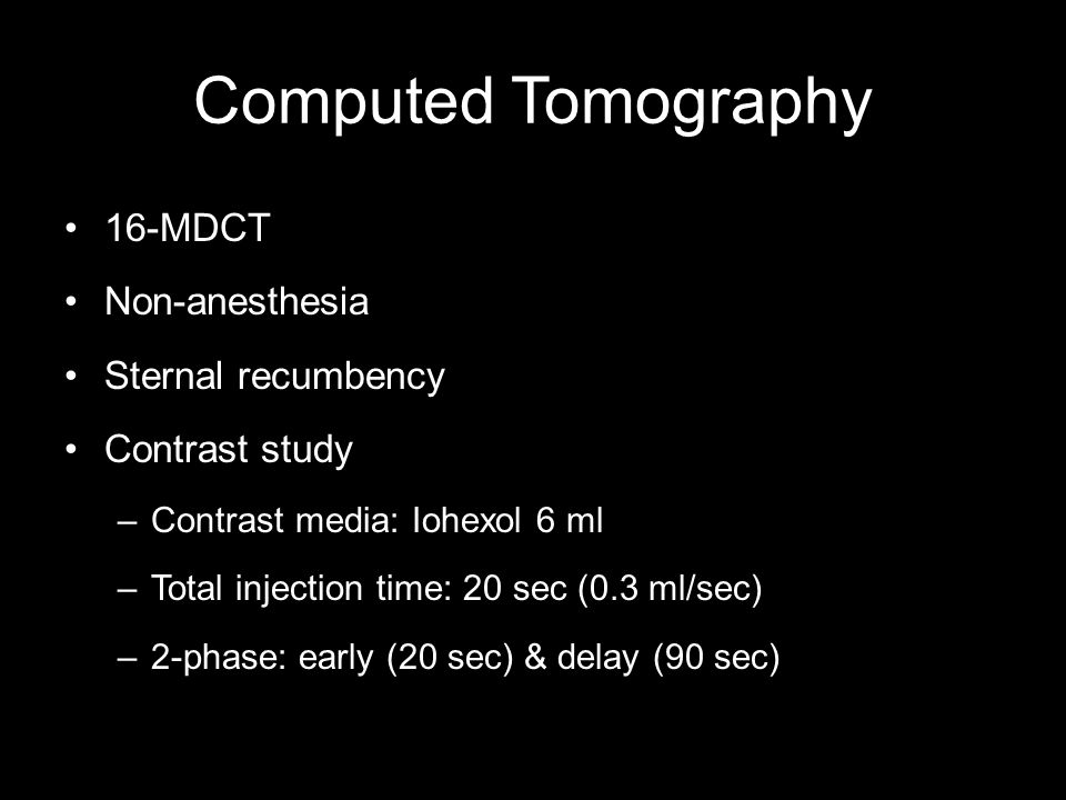 Computed Tomography 16-MDCT Non-anesthesia Sternal recumbency Contrast study –Contrast media: Iohexol 6 ml –Total injection time: 20 sec (0.3 ml/sec) –2-phase: early (20 sec) & delay (90 sec)