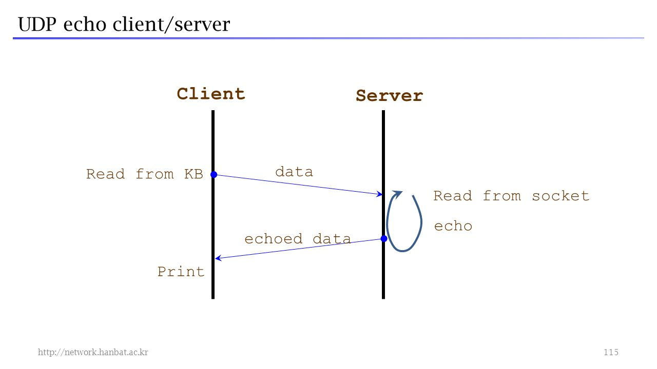 UDP echo client/server   Client Server echoed data Print Read from socket echo Read from KB data