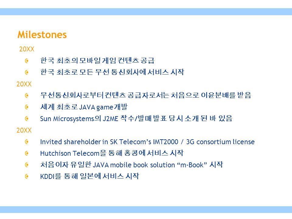 20XX 한국 최초의 모바일 게임 컨텐츠 공급 한국 최초로 모든 무선 통신회사에 서비스 시작 20XX 무선통신회사로부터 컨텐츠 공급자로서는 처음으로 이윤분배를 받음 세계 최초로 JAVA game 개발 Sun Microsystems 의 J2ME 착수 / 발매 발표 당시 소개 된 바 있음 20XX Invited shareholder in SK Telecom's IMT2000 / 3G consortium license Hutchison Telecom 을 통해 홍콩에 서비스 시작 처음이자 유일한 JAVA mobile book solution m-Book 시작 KDDI 를 통해 일본에 서비스 시작 Milestones