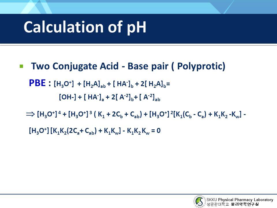 SKKU Physical Pharmacy Laboratory 성균관대학교 물리약학연구실  Two Conjugate Acid - Base pair ( Polyprotic) PBE : [H 3 O + ] + [H 2 A] ab + [ HA - ] b + 2[ H 2 A] b = [OH-] + [ HA - ] a + 2[ A -2 ] b + [ A -2 ] ab  [H 3 O + ] 4 + [H 3 O + ] 3 ( K 1 + 2C b + C ab ) + [H 3 O + ] 2 [K 1 (C b - C a ) + K 1 K 2 -K w ] - [H 3 O + ] [K 1 K 2 (2C a + C ab ) + K 1 K w ] - K 1 K 2 K w = 0