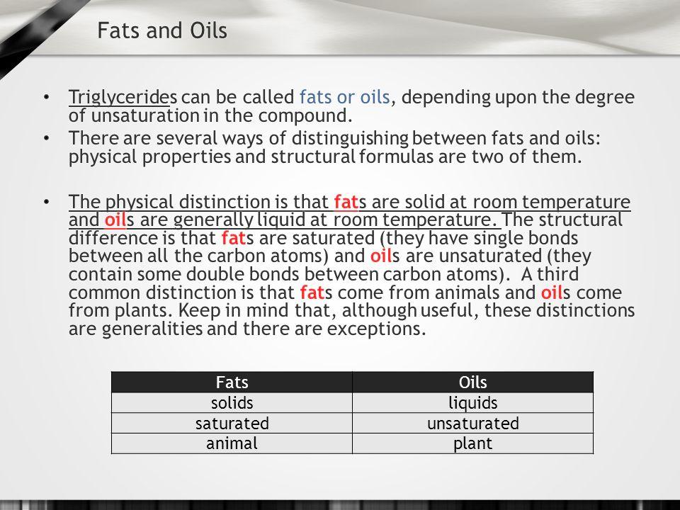 FatsOils solidsliquids saturatedunsaturated animalplant