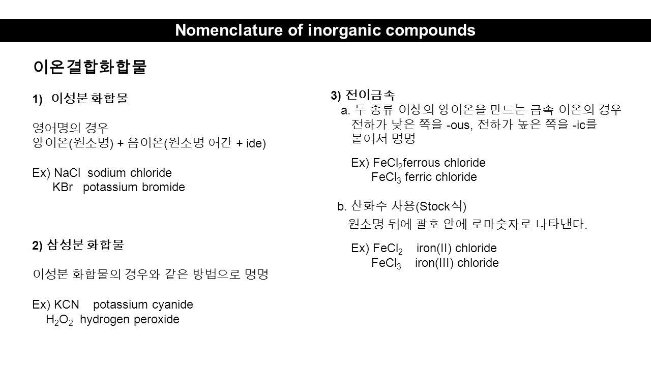 Nomenclature of inorganic compounds 이온결합화합물 1) 이성분 화합물 영어명의 경우 양이온 ( 원소명 ) + 음이온 ( 원소명 어간 + ide) Ex) NaCl sodium chloride KBr potassium bromide 2) 삼성분 화합물 이성분 화합물의 경우와 같은 방법으로 명명 Ex) KCN potassium cyanide H 2 O 2 hydrogen peroxide 3) 전이금속 a.