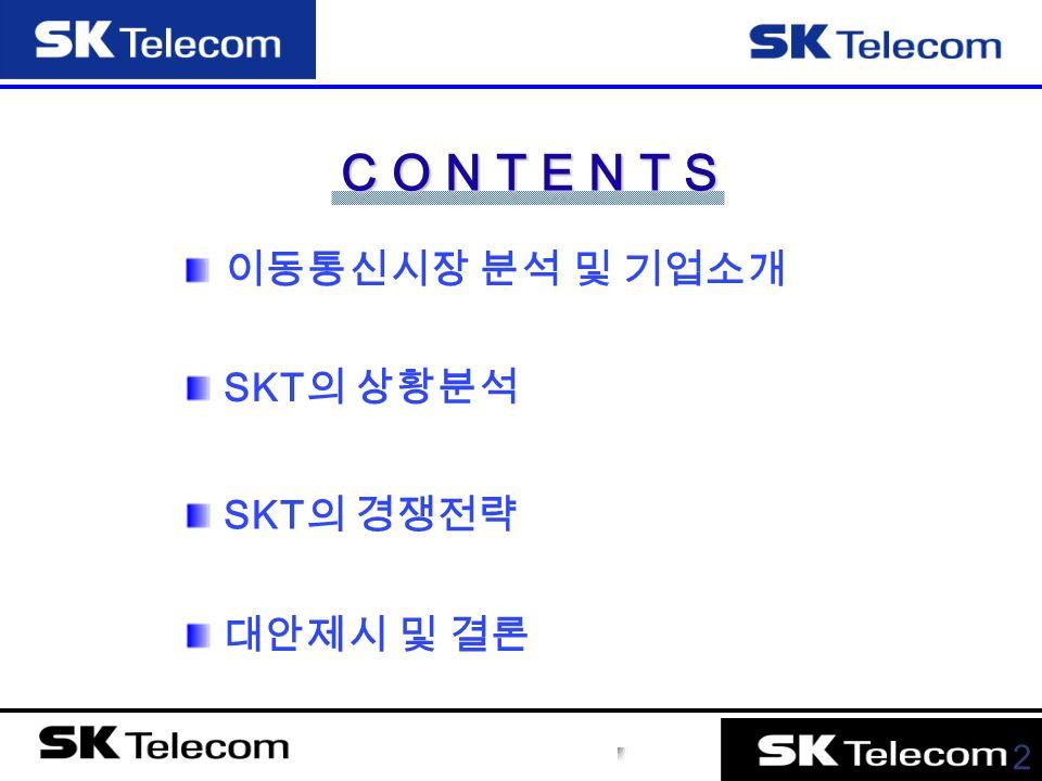 2 이동통신시장 분석 및 기업소개 C O N T E N T S SKT 의 상황분석 SKT 의 경쟁전략 대안제시 및 결론