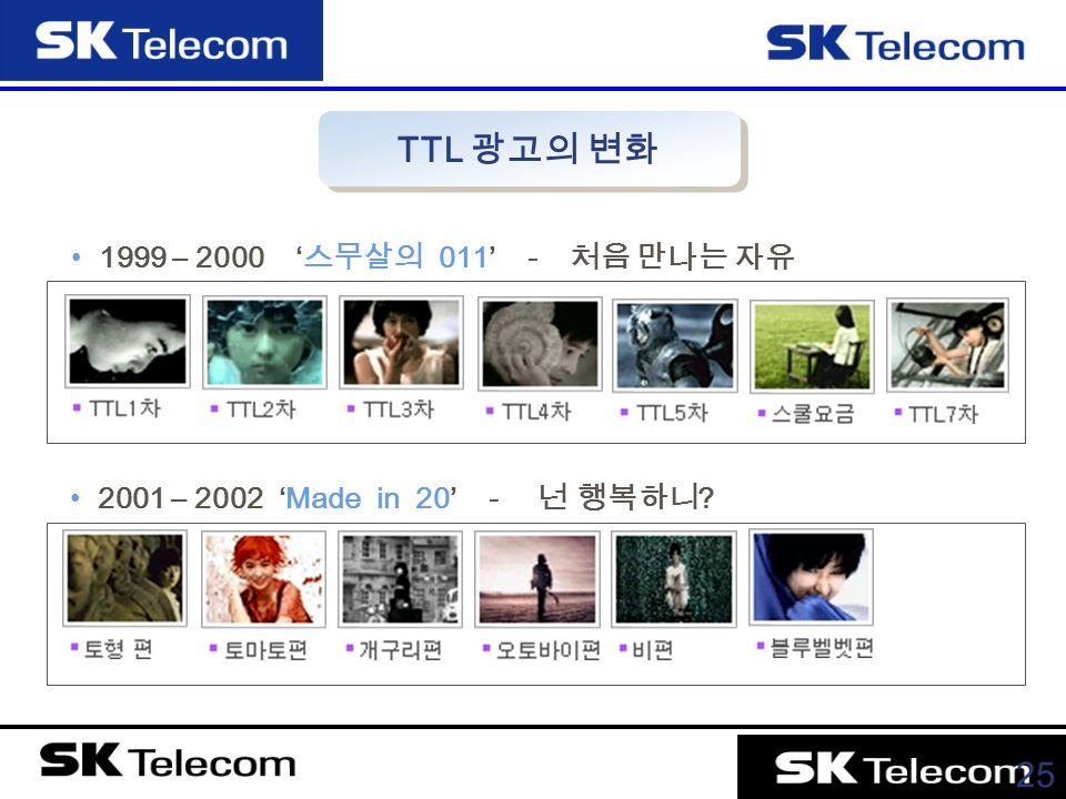 25 1999 – 2000 ' 스무살의 011' - 처음 만나는 자유 2001 – 2002 'Made in 20' - 넌 행복하니 TTL 광고의 변화