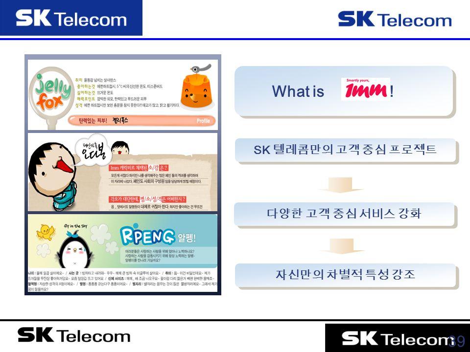 39 What is ! SK 텔레콤만의 고객 중심 프로젝트 다양한 고객 중심 서비스 강화 자신만의 차별적 특성 강조