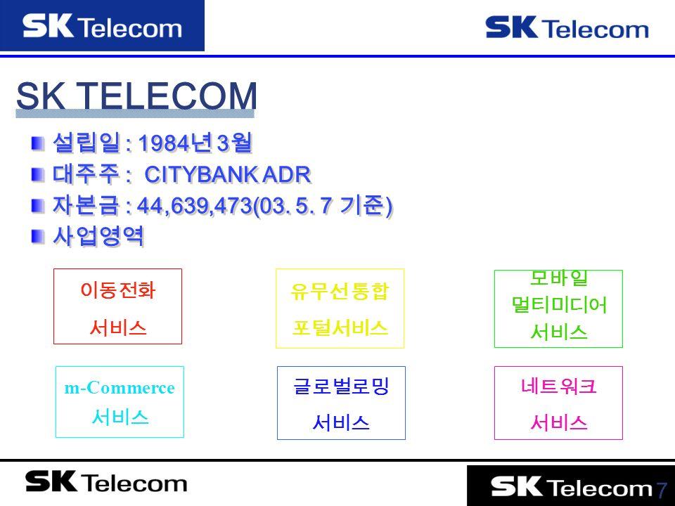 7 SK TELECOM 설립일 : 1984 년 3 월 대주주 : CITYBANK ADR 자본금 : 44,639,473(03.