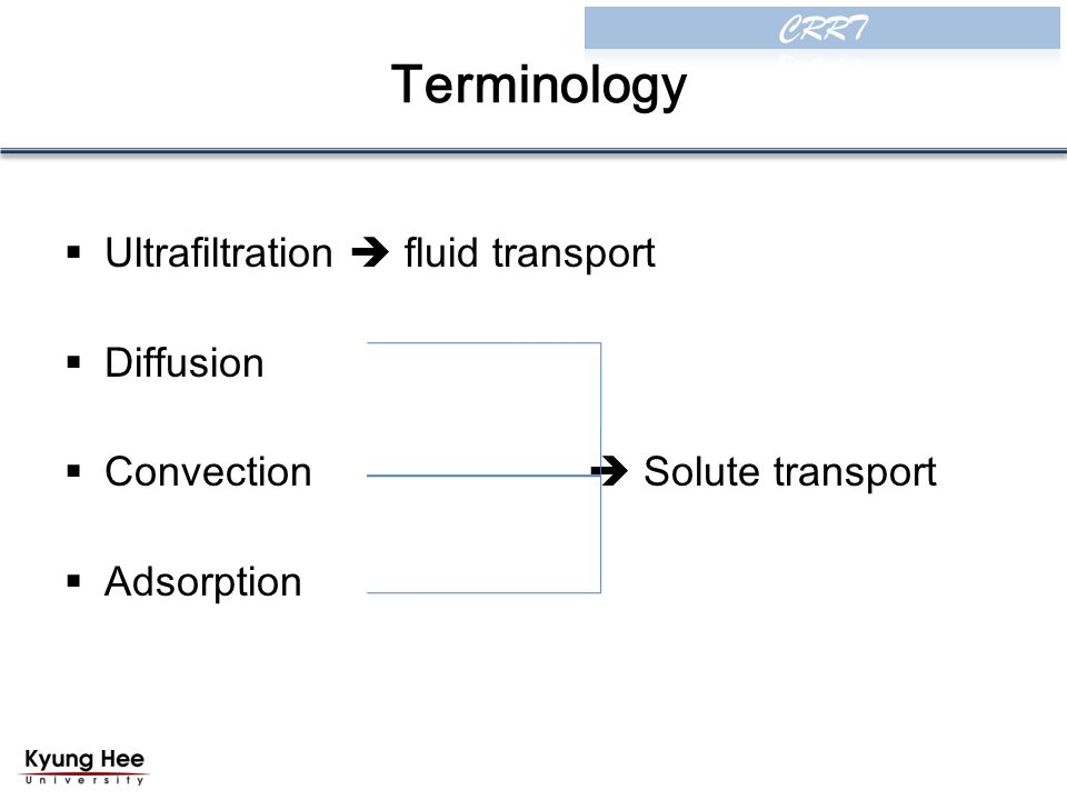 Terminology  Ultrafiltration  fluid transport  Diffusion  Convection  Solute transport  Adsorption