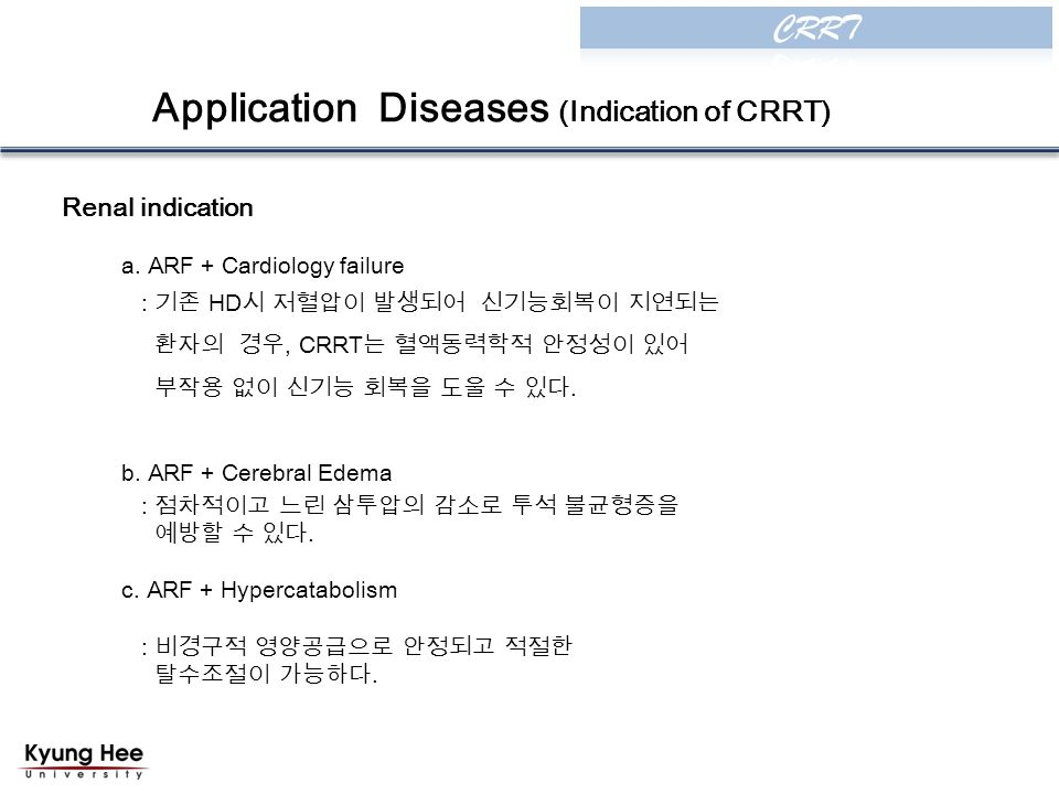 Application Diseases (Indication of CRRT) Renal indication a.