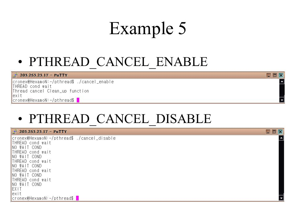 Example 5 PTHREAD_CANCEL_ENABLE PTHREAD_CANCEL_DISABLE
