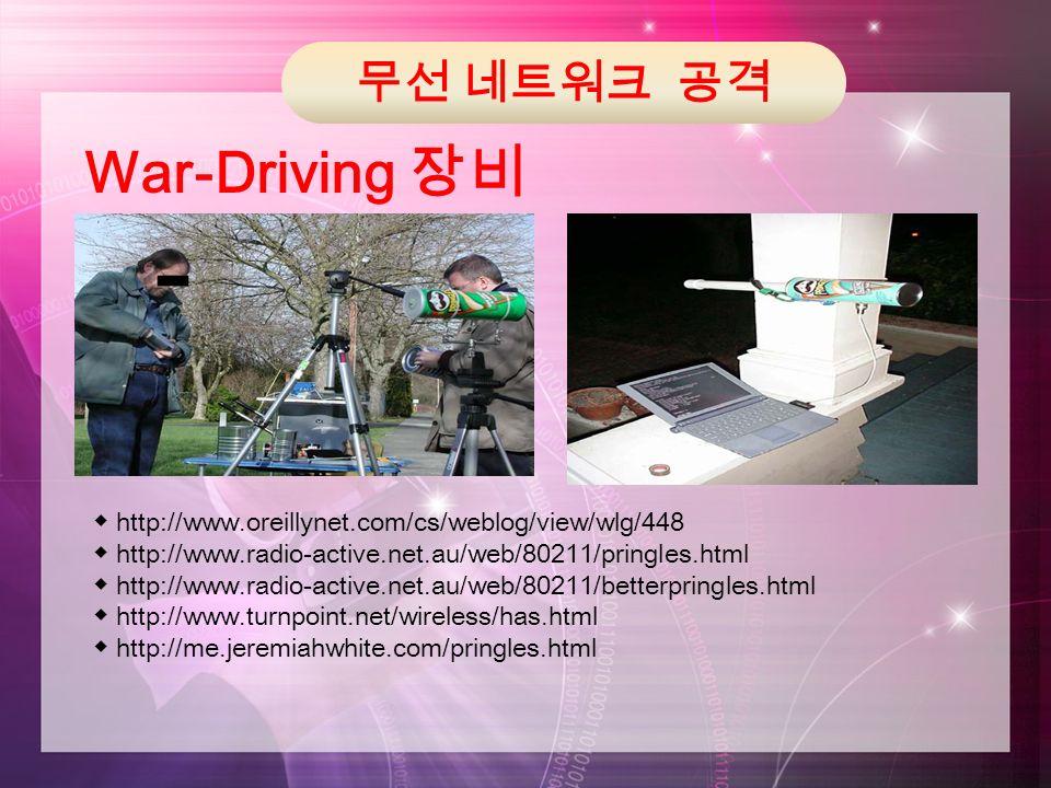 무선 네트워크 공격 War-Driving 장비 ◆ http://www.oreillynet.com/cs/weblog/view/wlg/448 ◆ http://www.radio-active.net.au/web/80211/pringles.html ◆ http://www.radio-active.net.au/web/80211/betterpringles.html ◆ http://www.turnpoint.net/wireless/has.html ◆ http://me.jeremiahwhite.com/pringles.html
