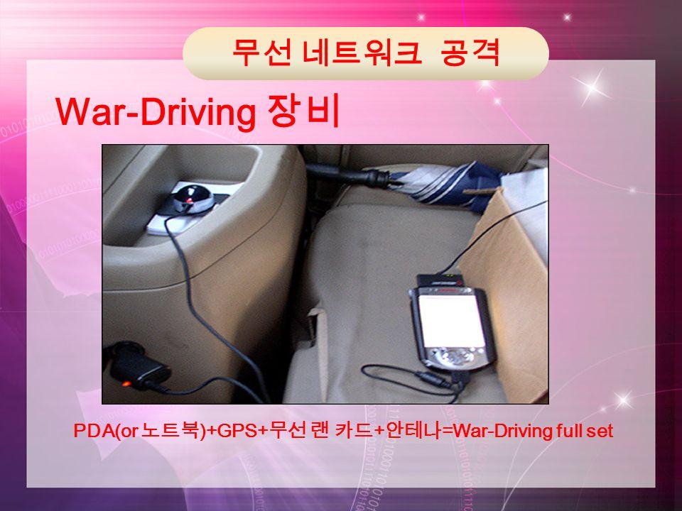 무선 네트워크 공격 War-Driving 장비 PDA(or 노트북 )+GPS+ 무선 랜 카드 + 안테나 =War-Driving full set