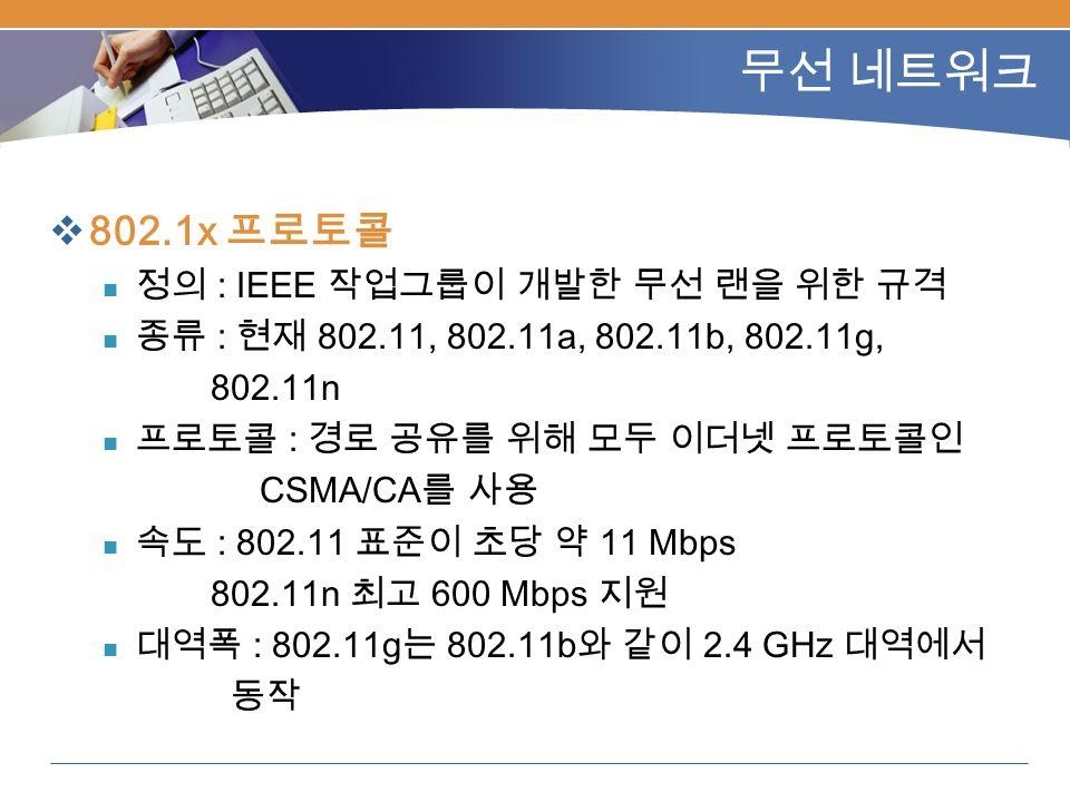 무선 네트워크  802.1x 프로토콜 정의 : IEEE 작업그룹이 개발한 무선 랜을 위한 규격 종류 : 현재 802.11, 802.11a, 802.11b, 802.11g, 802.11n 프로토콜 : 경로 공유를 위해 모두 이더넷 프로토콜인 CSMA/CA 를 사용 속도 : 802.11 표준이 초당 약 11 Mbps 802.11n 최고 600 Mbps 지원 대역폭 : 802.11g 는 802.11b 와 같이 2.4 GHz 대역에서 동작